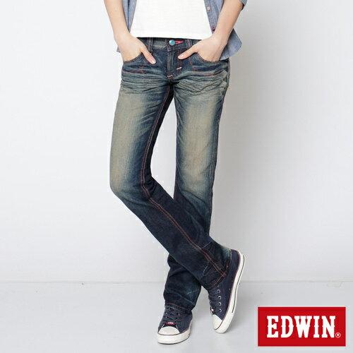 【2件組福袋。1599元↘】EDWIN Miss503 BLUE TRIP 墨西哥風彩虹裝飾繡花拉鍊口袋直筒牛仔褲-女款 水痕復古藍洗色 0
