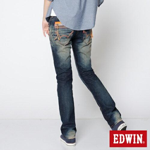 【2件組福袋。1599元↘】EDWIN Miss503 BLUE TRIP 墨西哥風彩虹裝飾繡花拉鍊口袋直筒牛仔褲-女款 水痕復古藍洗色 1