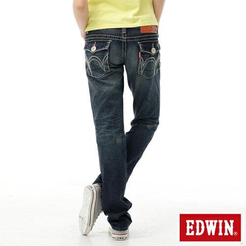 【2件組福袋。1599元↘】EDWIN BLUE TRIP 503 袋蓋中直筒牛仔褲-女款 原刷藍 1
