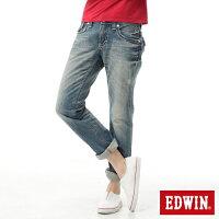 牛仔/丹寧服飾到【990元優惠↘】 EDWIN BLUE TRIP 503 袋蓋中直筒牛仔褲-女款 輕刷洗復古藍