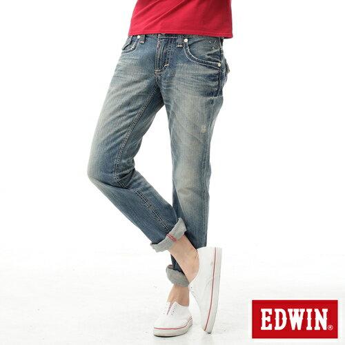 【生日慶最終檔。590丹寧補貨到↘】【零碼】EDWINBLUETRIP503袋蓋中直筒牛仔褲-女款輕刷洗復古藍【525-531限定販售】
