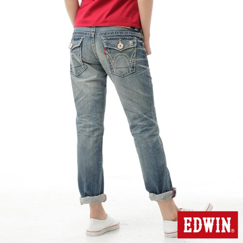 【990元優惠↘】EDWIN BLUE TRIP 503 袋蓋中直筒牛仔褲-女款 輕刷洗復古藍【4/29單筆588輸入序號17marathon-6。再折88元 /單筆1800輸入序號EDWIN200-2。再折200】 1