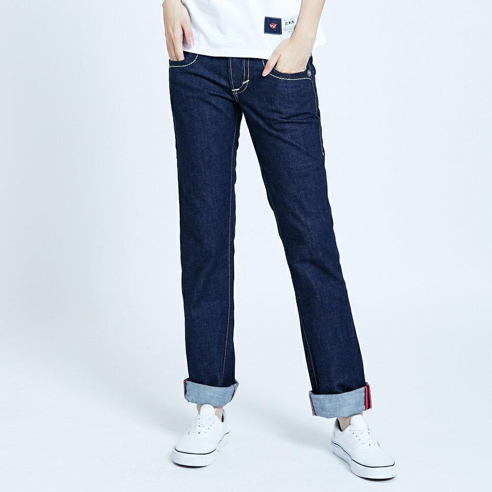 Miss EDWIN BLUE TRIP 交叉縫線 中直筒牛仔褲-女款 原藍色 STRAIGHT【任選2件1500元】 1