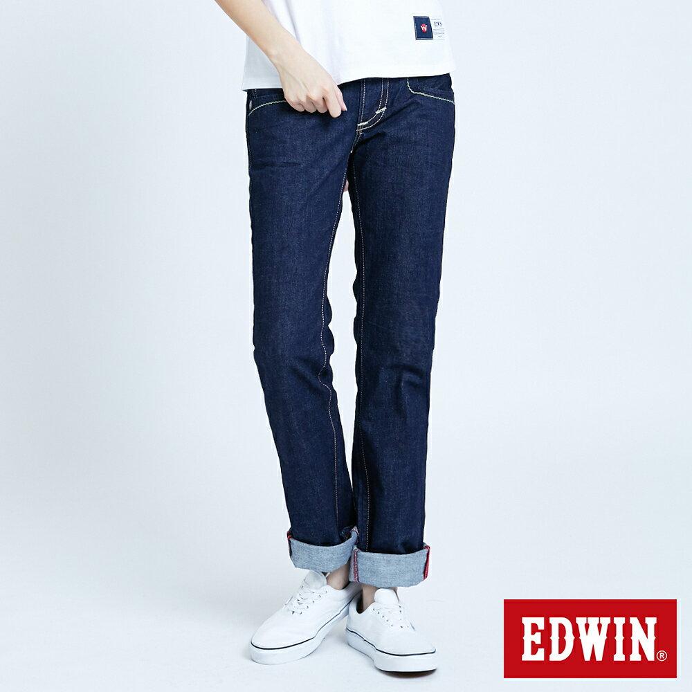 Miss EDWIN BLUE TRIP 交叉縫線 中直筒牛仔褲-女款 原藍色 STRAIGHT【任選2件1500元】 0
