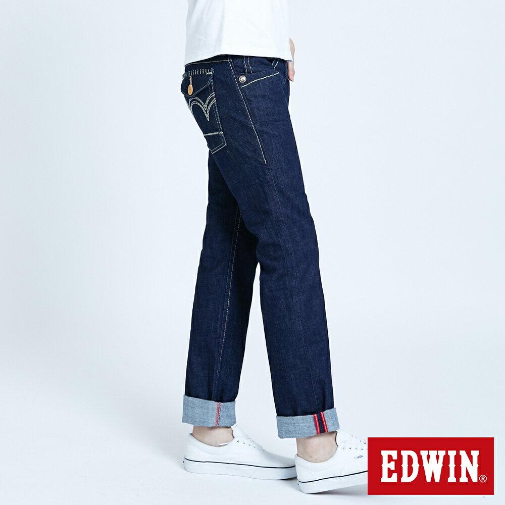 Miss EDWIN BLUE TRIP 交叉縫線 中直筒牛仔褲-女款 原藍色 STRAIGHT【任選2件1500元】 3