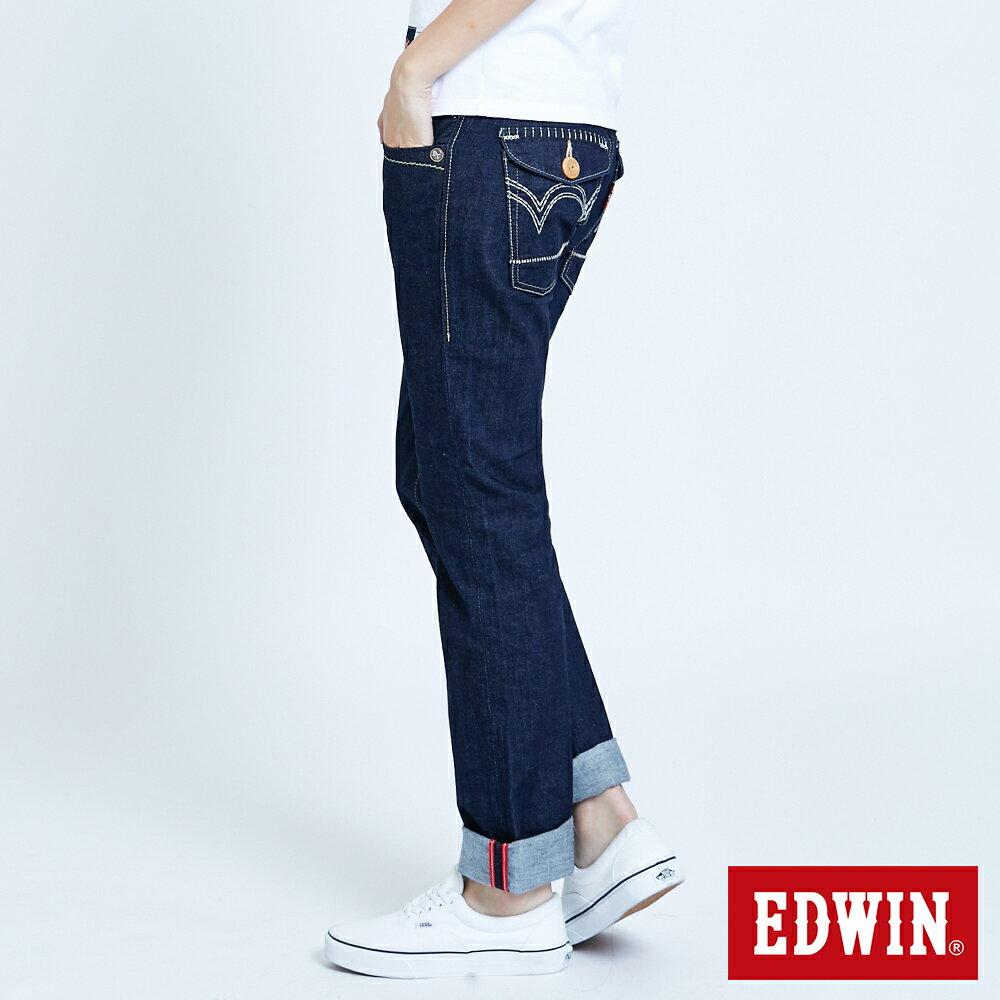 Miss EDWIN BLUE TRIP 交叉縫線 中直筒牛仔褲-女款 原藍色 STRAIGHT【任選2件1500元】 4