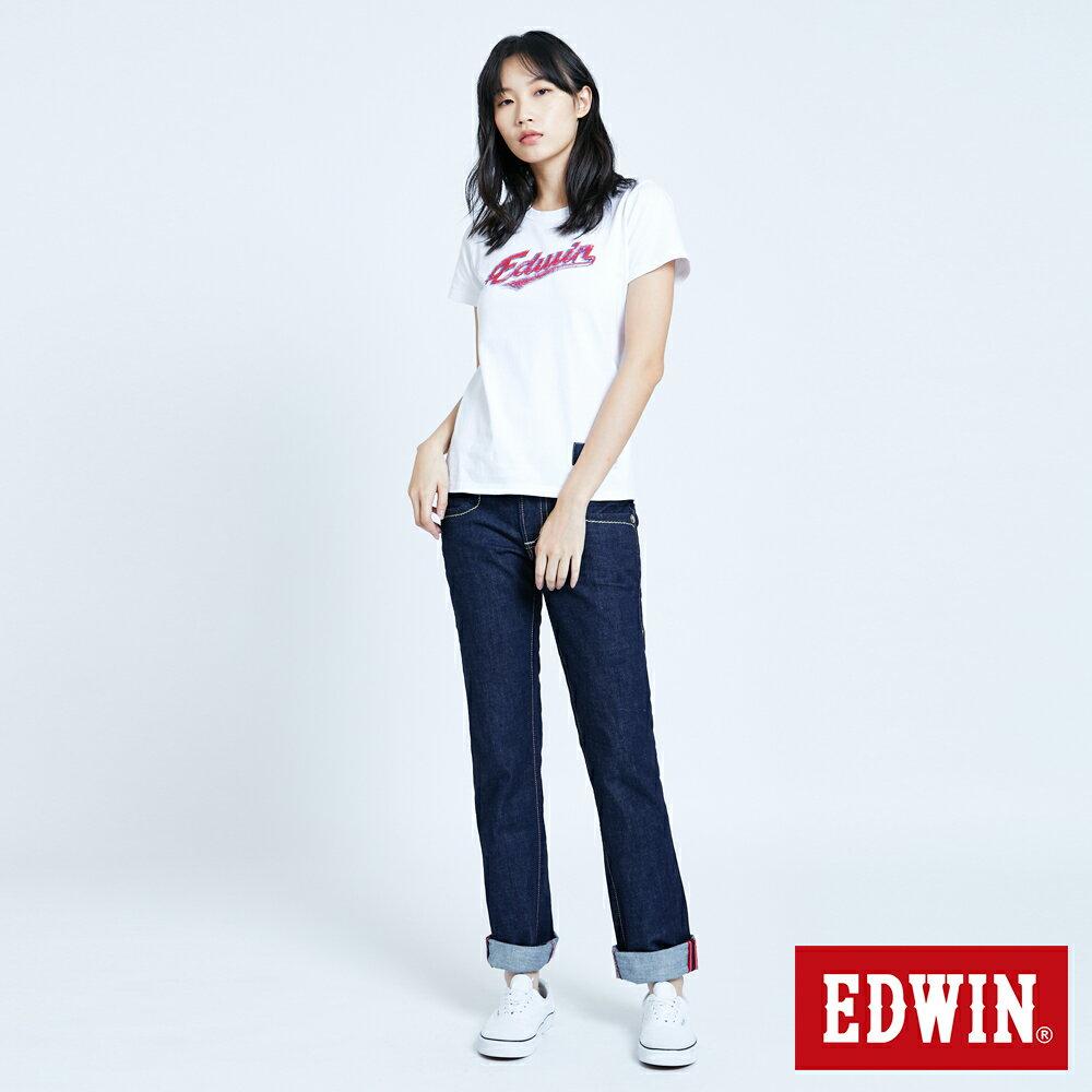 Miss EDWIN BLUE TRIP 交叉縫線 中直筒牛仔褲-女款 原藍色 STRAIGHT【任選2件1500元】 5