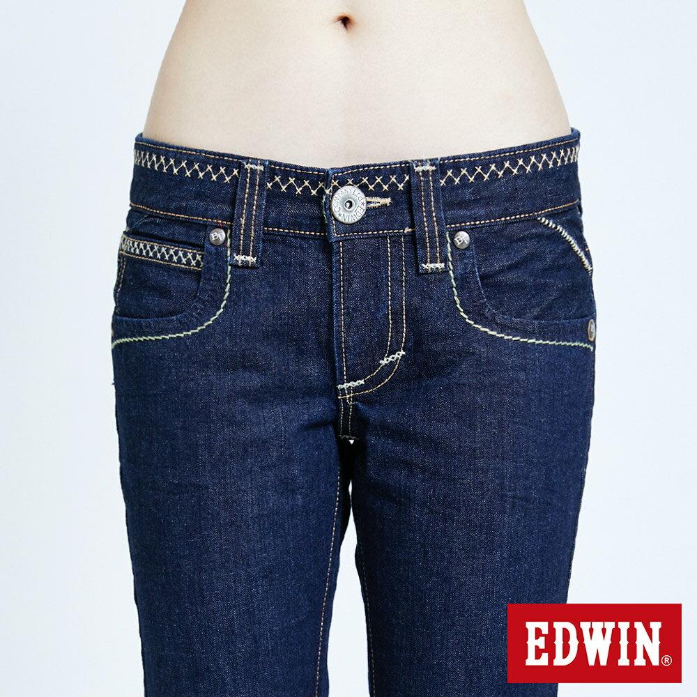 Miss EDWIN BLUE TRIP 交叉縫線 中直筒牛仔褲-女款 原藍色 STRAIGHT【任選2件1500元】 6