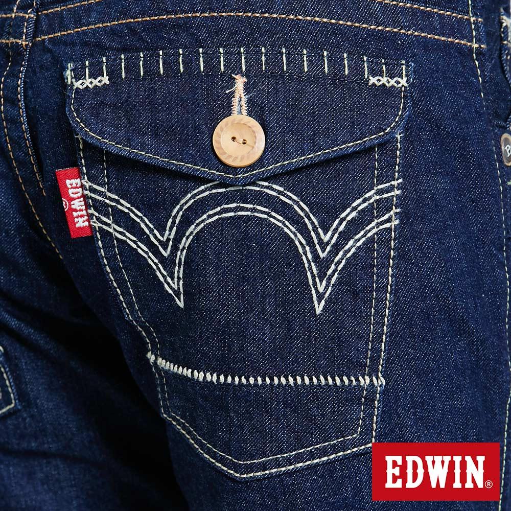 Miss EDWIN BLUE TRIP 交叉縫線 中直筒牛仔褲-女款 原藍色 STRAIGHT【任選2件1500元】 9