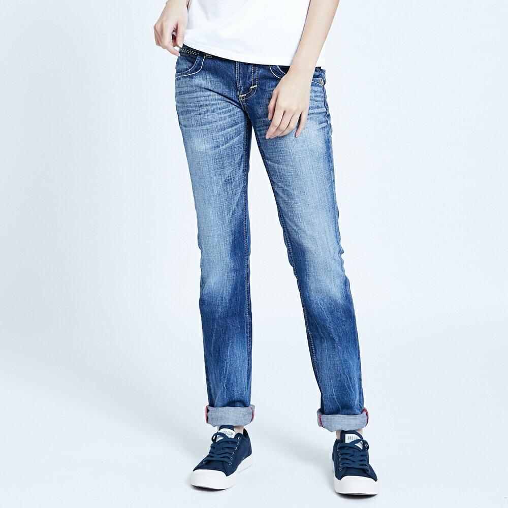 Miss EDWIN BLUE TRIP 交叉縫線 中直筒牛仔褲-女款 淺藍色 STRAIGHT 1