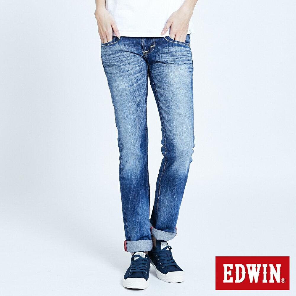 Miss EDWIN BLUE TRIP 交叉縫線 中直筒牛仔褲-女款 淺藍色 STRAIGHT 0