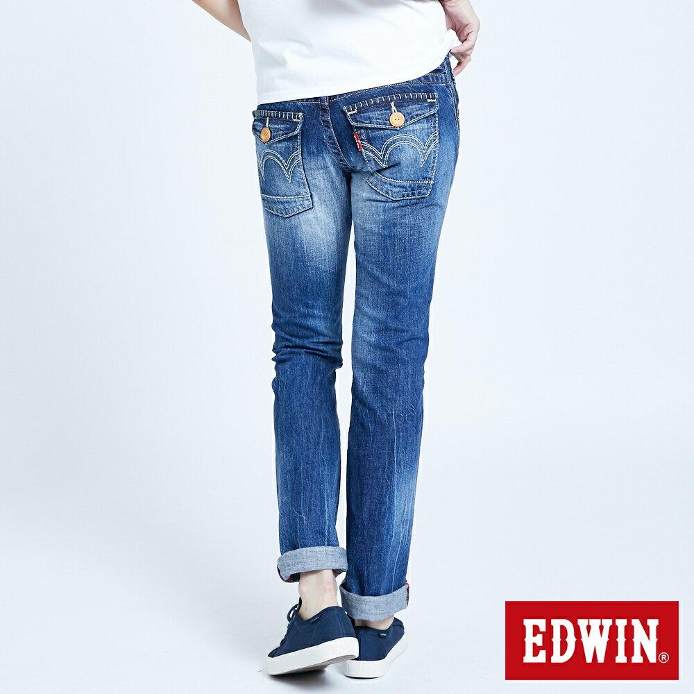 Miss EDWIN BLUE TRIP 交叉縫線 中直筒牛仔褲-女款 淺藍色 STRAIGHT 2