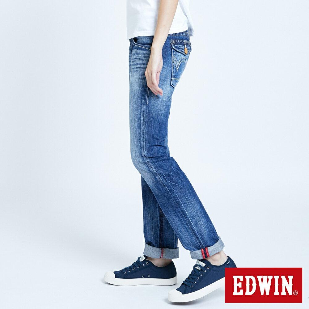 Miss EDWIN BLUE TRIP 交叉縫線 中直筒牛仔褲-女款 淺藍色 STRAIGHT 3