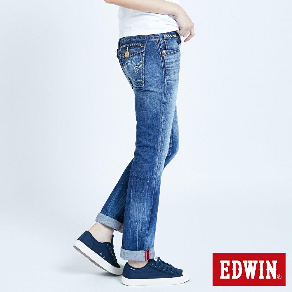 Miss EDWIN BLUE TRIP 交叉縫線 中直筒牛仔褲-女款 淺藍色 STRAIGHT 4