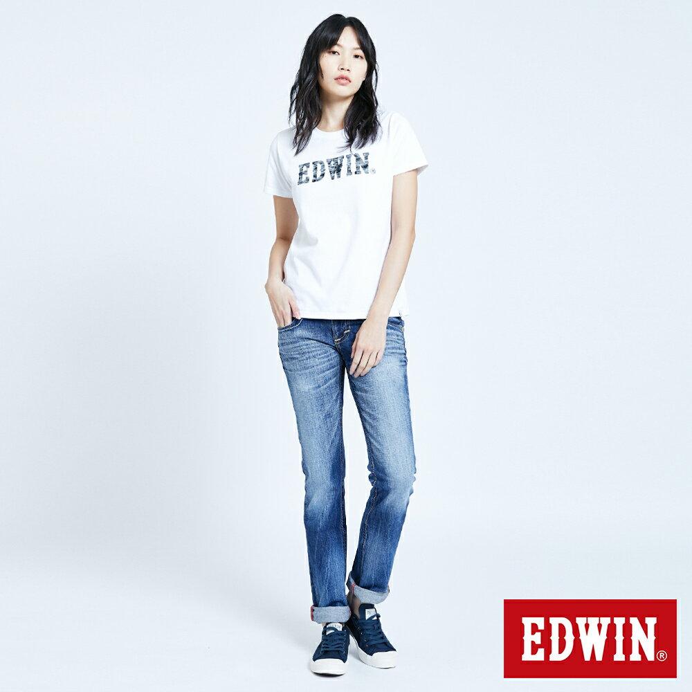 Miss EDWIN BLUE TRIP 交叉縫線 中直筒牛仔褲-女款 淺藍色 STRAIGHT 5