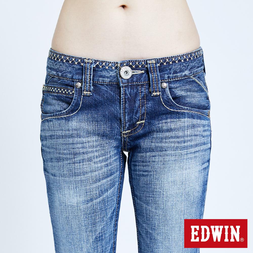 Miss EDWIN BLUE TRIP 交叉縫線 中直筒牛仔褲-女款 淺藍色 STRAIGHT 6
