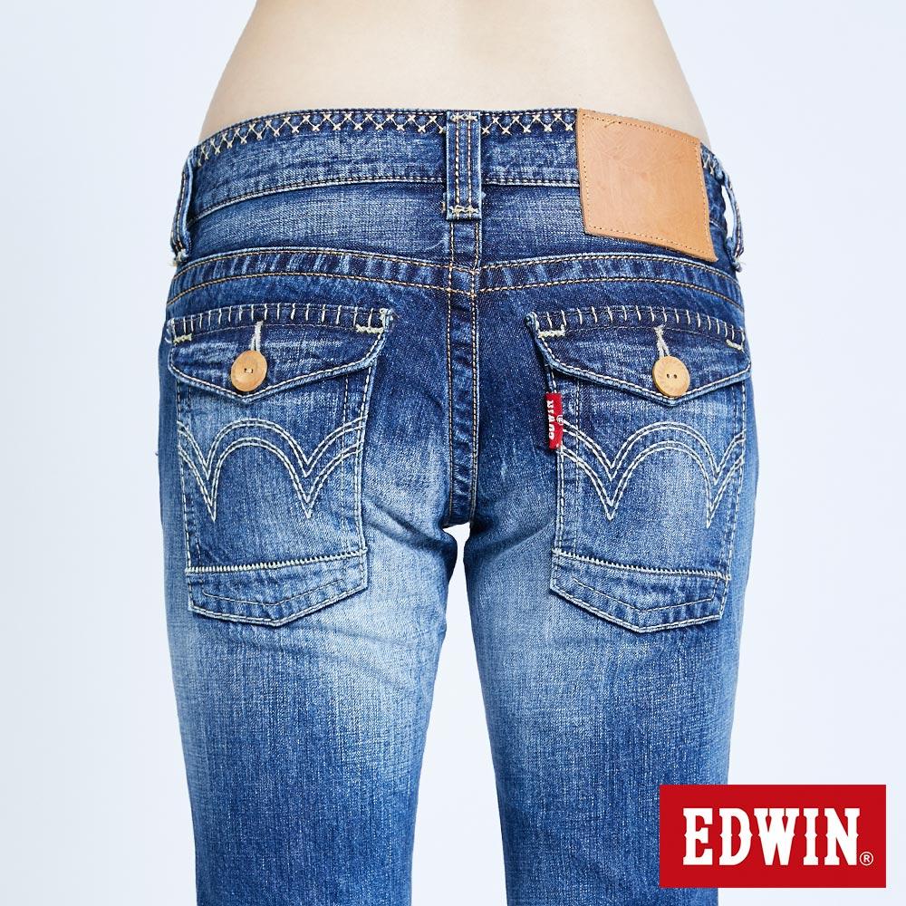 Miss EDWIN BLUE TRIP 交叉縫線 中直筒牛仔褲-女款 淺藍色 STRAIGHT 7