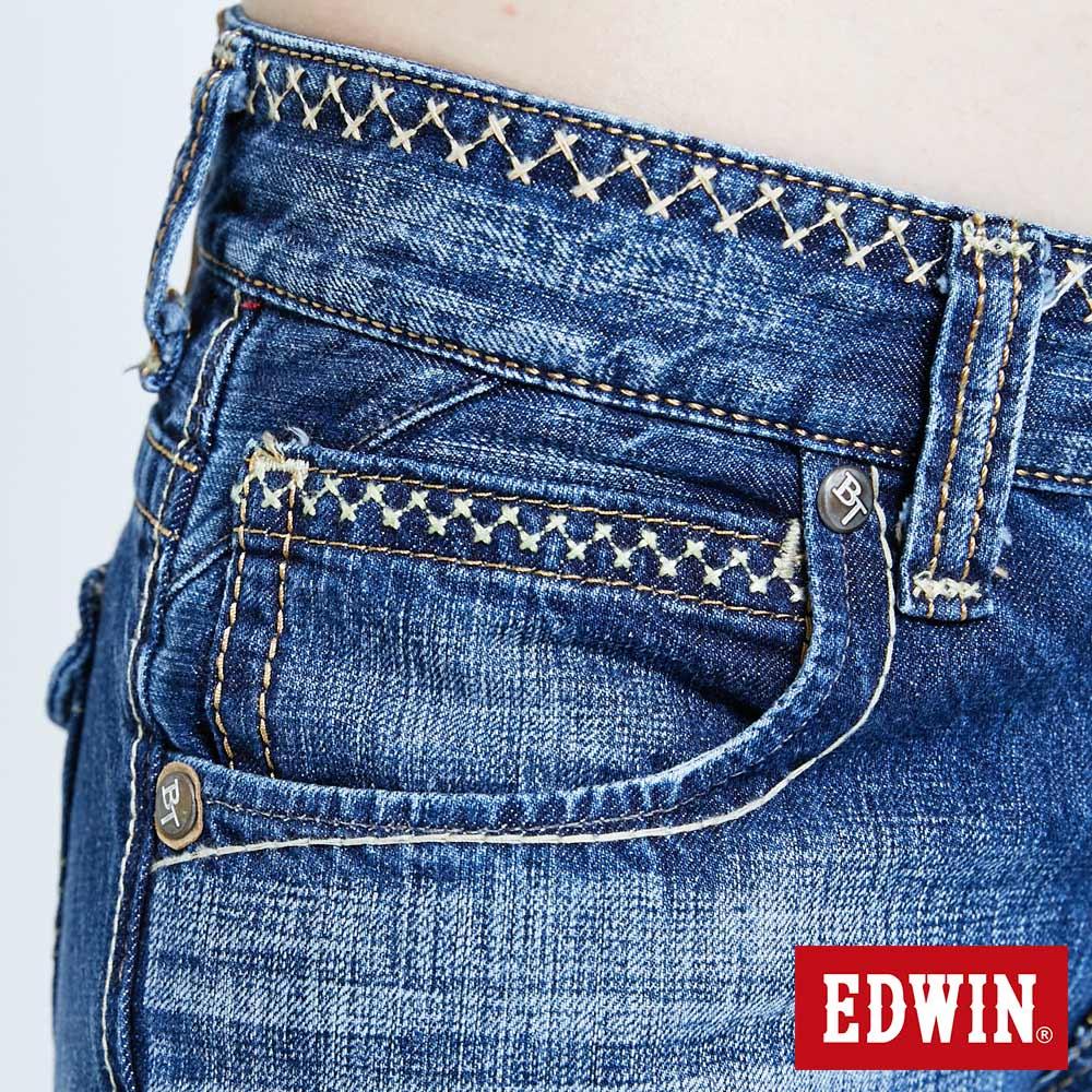 Miss EDWIN BLUE TRIP 交叉縫線 中直筒牛仔褲-女款 淺藍色 STRAIGHT 8
