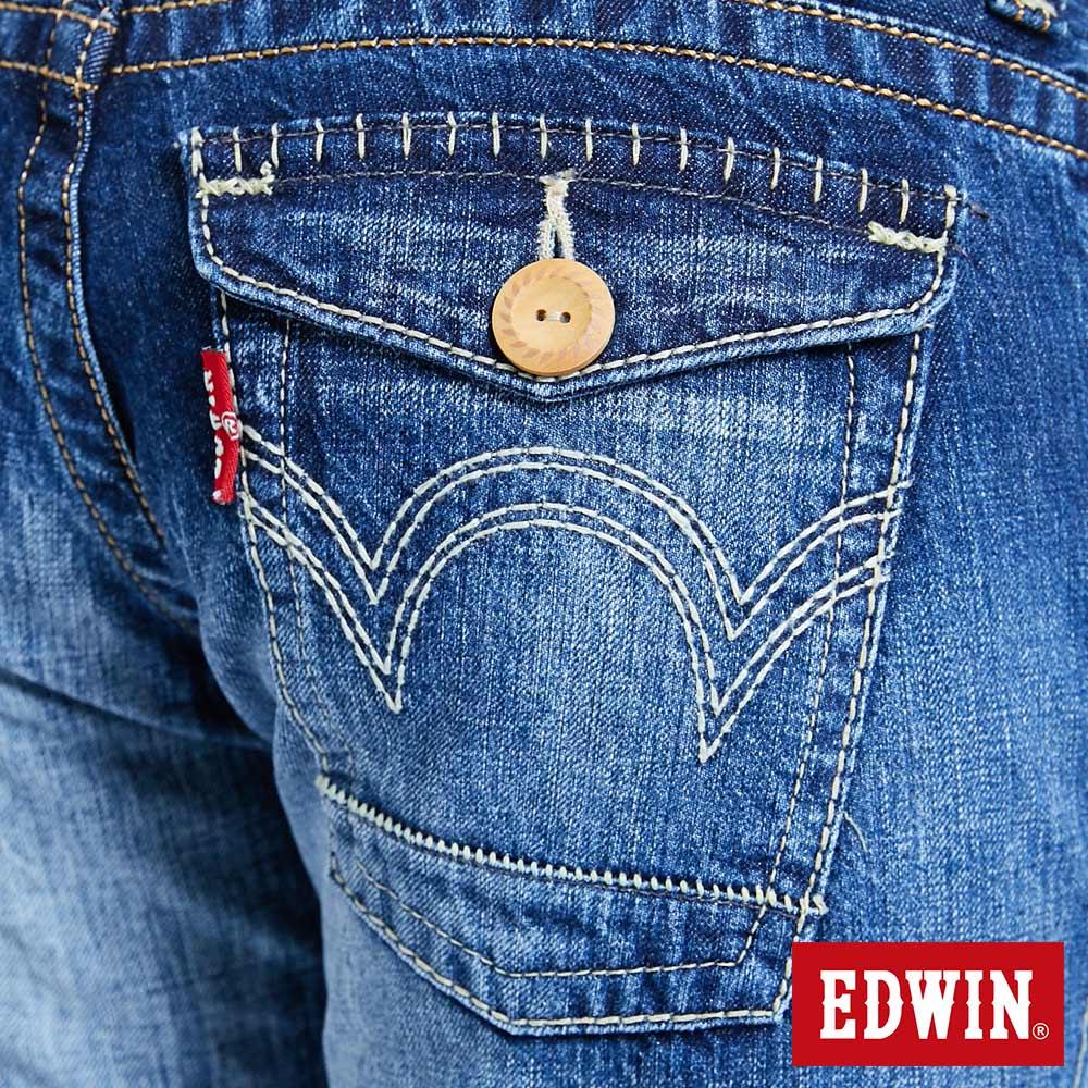 Miss EDWIN BLUE TRIP 交叉縫線 中直筒牛仔褲-女款 淺藍色 STRAIGHT 9