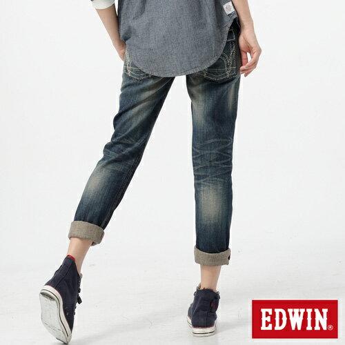 【990元優惠↘】Miss EDWIN Blue Trip 袋蓋AB褲-女款 拔洗藍 1