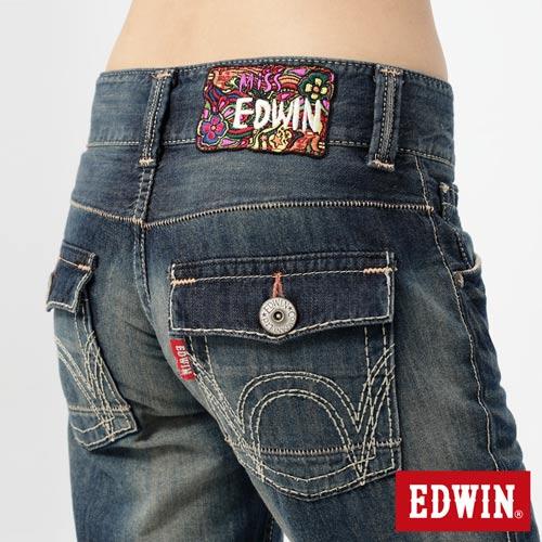 【990元優惠↘】Miss EDWIN Blue Trip 袋蓋AB褲-女款 拔洗藍 2