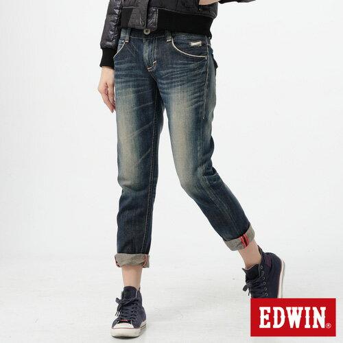 【990元優惠↘】Miss EDWIN Blue Trip 袋蓋AB褲-女款 拔洗藍 0