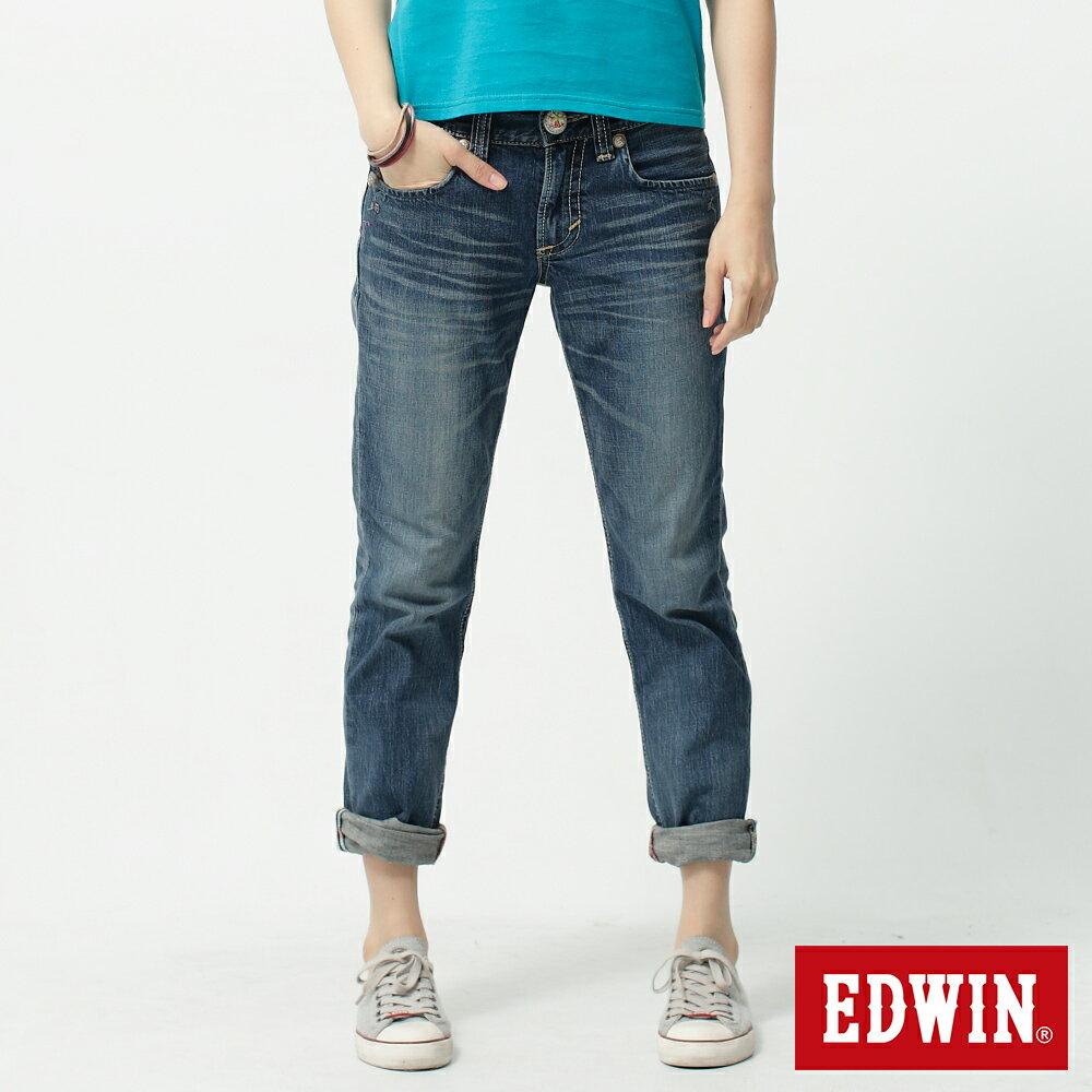 【5折優惠↘】Miss EDWIN BLUE TRIP 皮牌繡花AB牛仔褲-女款 重漂藍