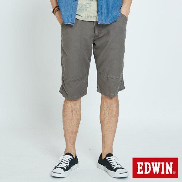 【990元優惠↘】 EDWIN EASY PANT 繡線LOGO休閒5分馬褲-男款 暗咖啡