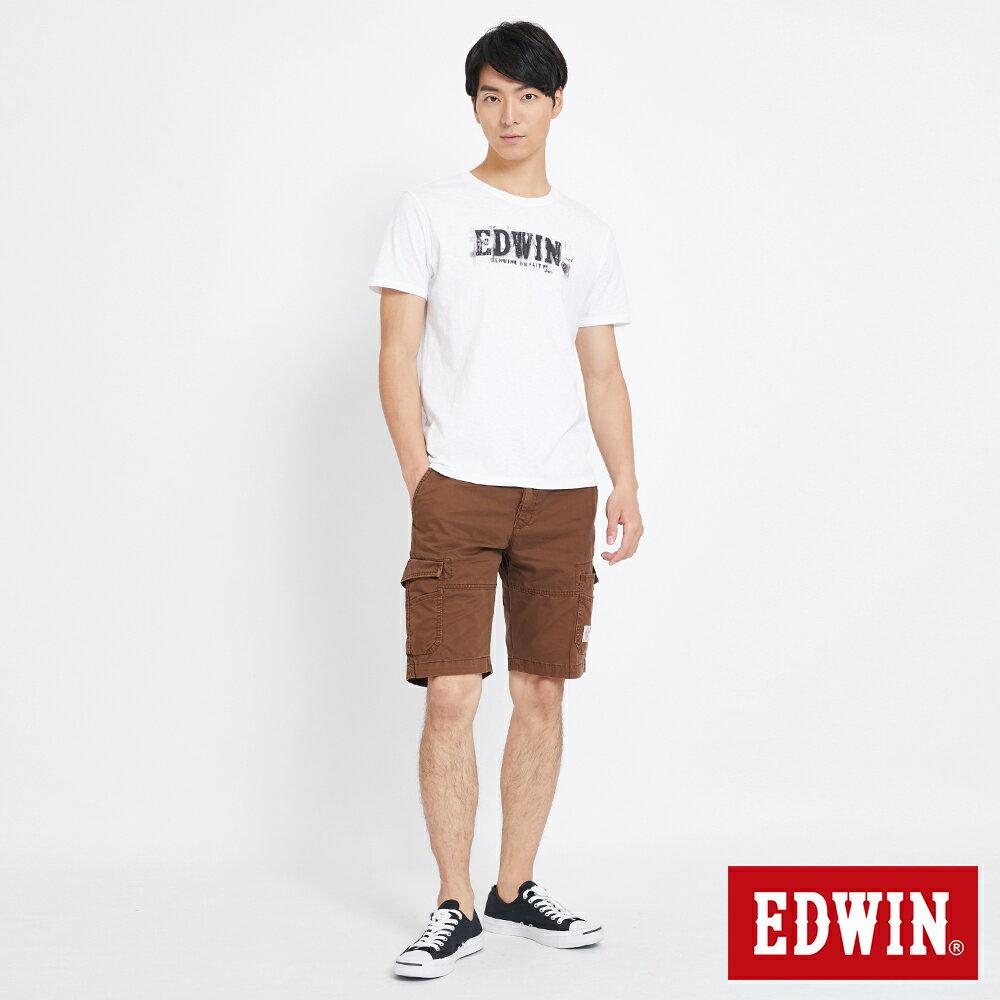EDWIN 雙層前立 工作短褲-男款 咖啡 SHORTS 4