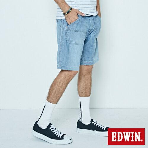 【5折優惠↘】EDWIN EASY PANTS 綁帶水洗休閒短褲-男款 中古藍 2