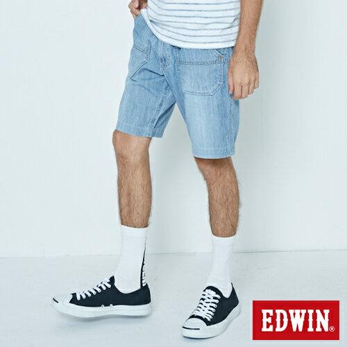 【5折優惠↘】EDWIN EASY PANTS 綁帶水洗休閒短褲-男款 中古藍 3