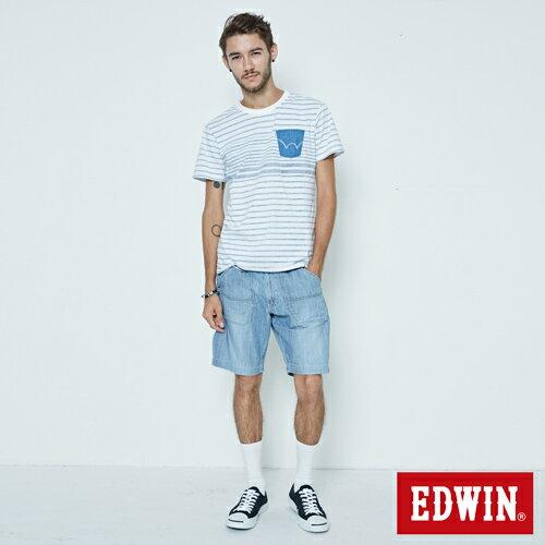 【5折優惠↘】EDWIN EASY PANTS 綁帶水洗休閒短褲-男款 中古藍 4