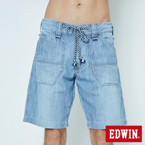 【5折優惠↘】EDWIN EASY PANTS 綁帶水洗休閒短褲-男款 中古藍 5