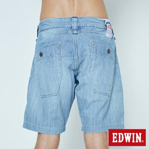 【5折優惠↘】EDWIN EASY PANTS 綁帶水洗休閒短褲-男款 中古藍 6