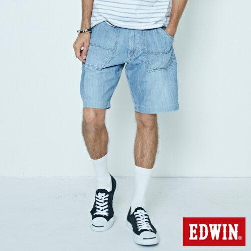 【5折優惠↘】EDWIN EASY PANTS 綁帶水洗休閒短褲-男款 中古藍 0