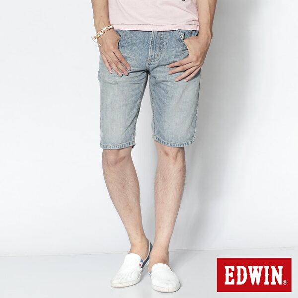 【990元優惠↘】 EDWIN XV 涼感牛仔 個性短褲-男款 漂淺藍