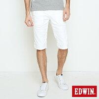 EDWIN 迷彩 五分休閒短褲 男款 白色