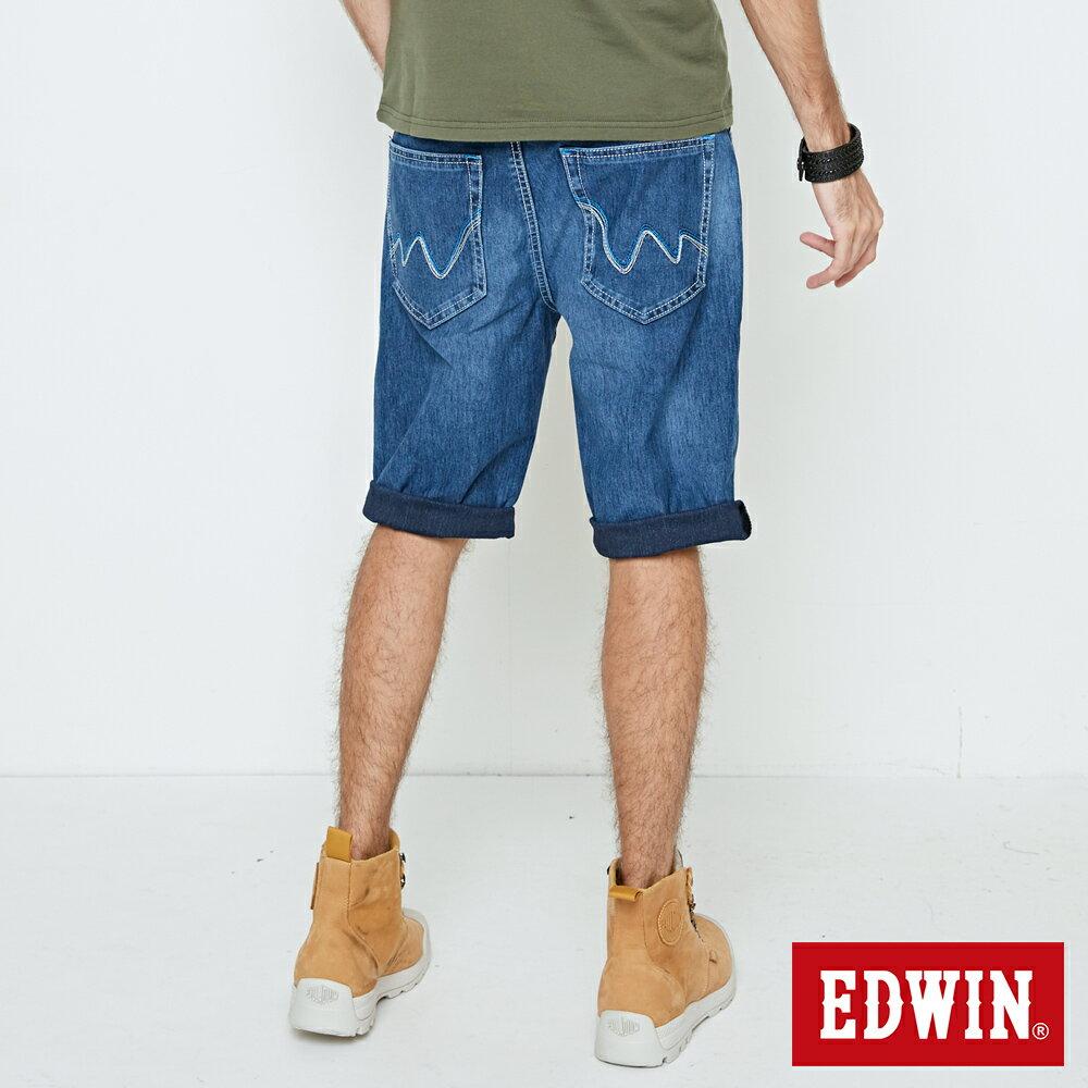 EDWIN JERSEYS 迦績 大尺碼 刷色 牛仔短褲-男款 石洗綠 SHORTS