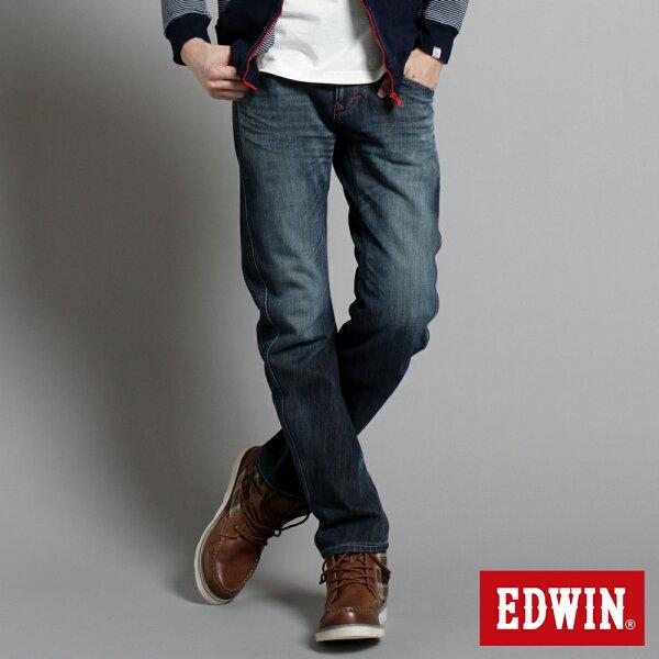 【5折優惠↘】EDWINW.FE-F迷彩貼合內裡保暖窄直筒褲-男款中古藍