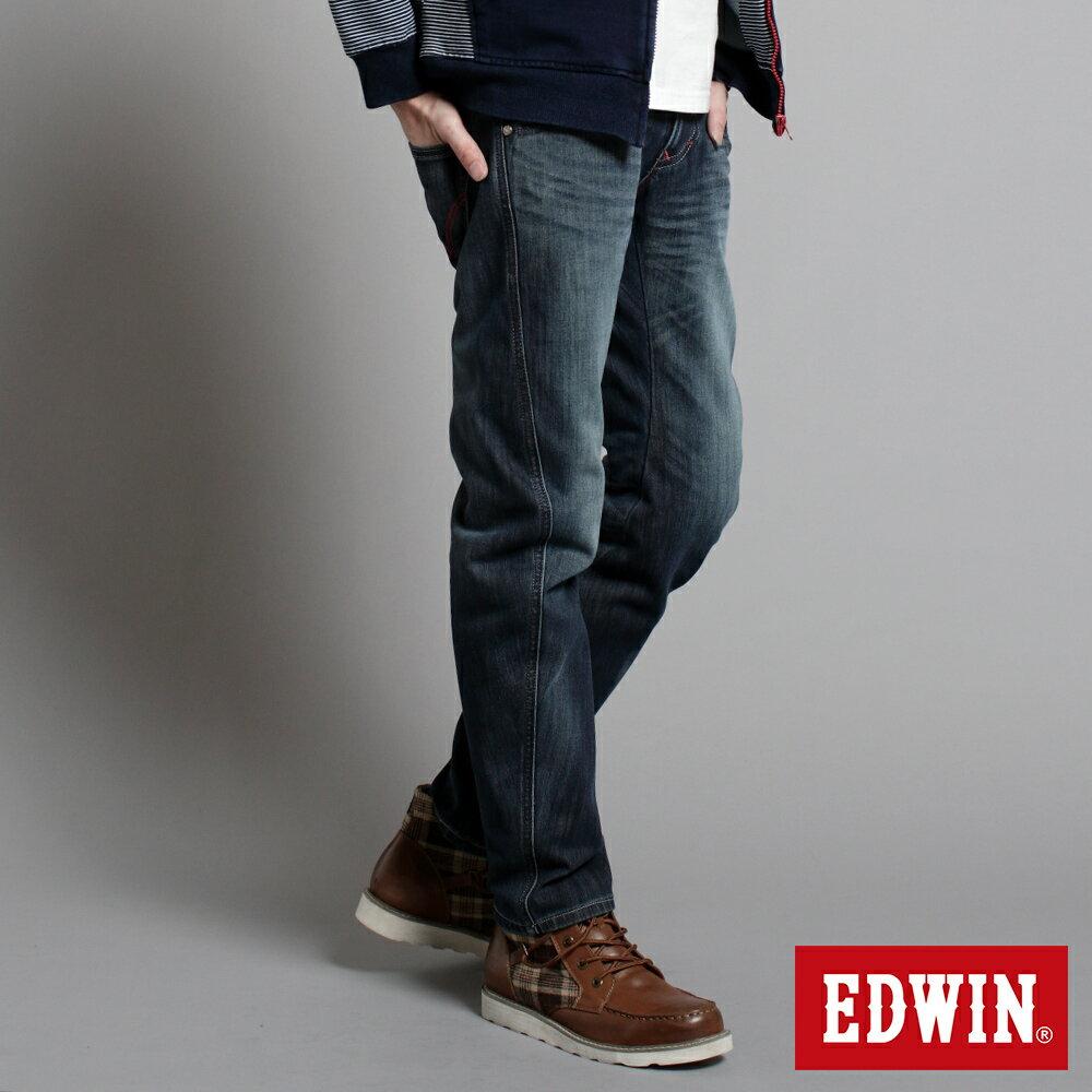 EDWIN E-F W.F迷彩內裡 保暖窄直筒牛仔褲-男款 中古藍 SLIM【任選2件1500元】 2