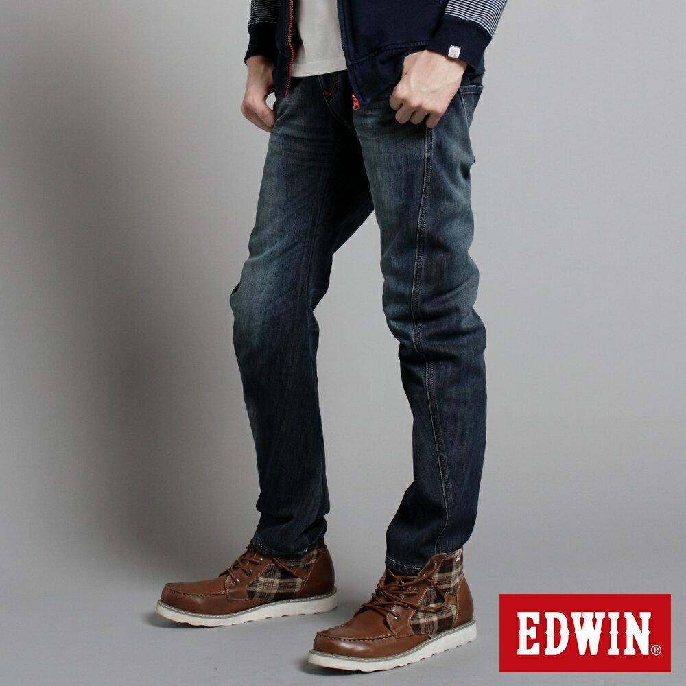EDWIN E-F W.F迷彩內裡 保暖窄直筒牛仔褲-男款 中古藍 SLIM【任選2件1500元】 3