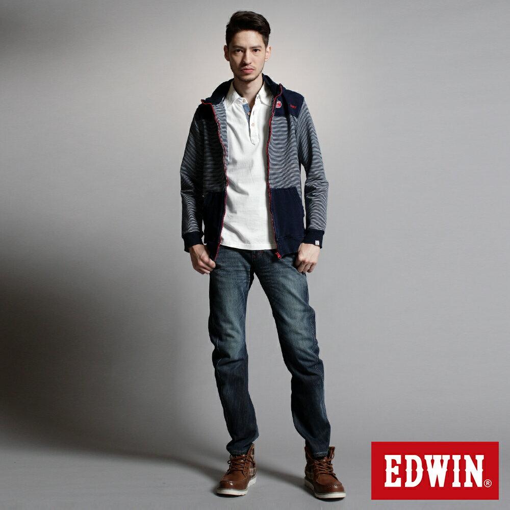 EDWIN E-F W.F迷彩內裡 保暖窄直筒牛仔褲-男款 中古藍 SLIM【任選2件1500元】 4