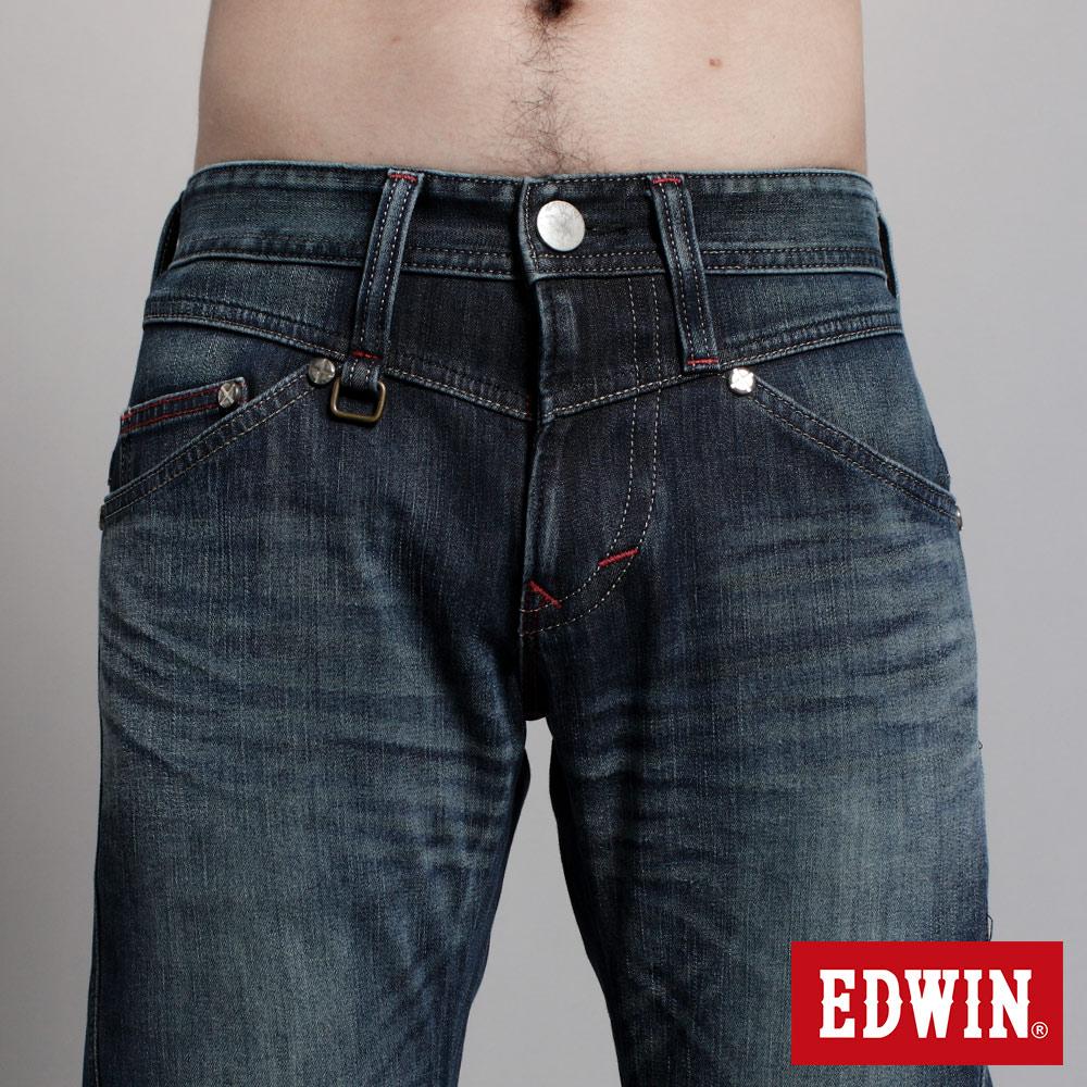 EDWIN E-F W.F迷彩內裡 保暖窄直筒牛仔褲-男款 中古藍 SLIM【任選2件1500元】 5