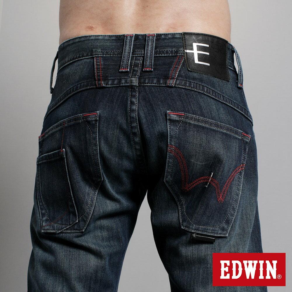 EDWIN E-F W.F迷彩內裡 保暖窄直筒牛仔褲-男款 中古藍 SLIM【任選2件1500元】 6