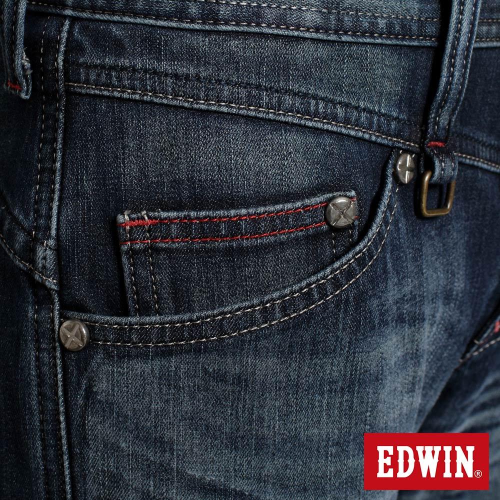 EDWIN E-F W.F迷彩內裡 保暖窄直筒牛仔褲-男款 中古藍 SLIM【任選2件1500元】 7