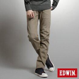 EDWIN 大尺碼 迷彩內裡 保暖 直筒牛仔褲 男款 褐色 零碼
