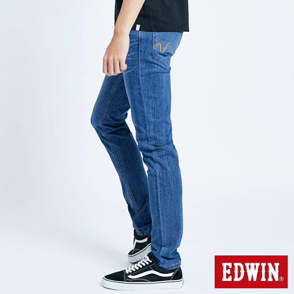EDWIN JERSEYS 迦績 復古棉 窄直筒牛仔褲-男款 拔洗藍 樂天獨家 SLIM 2