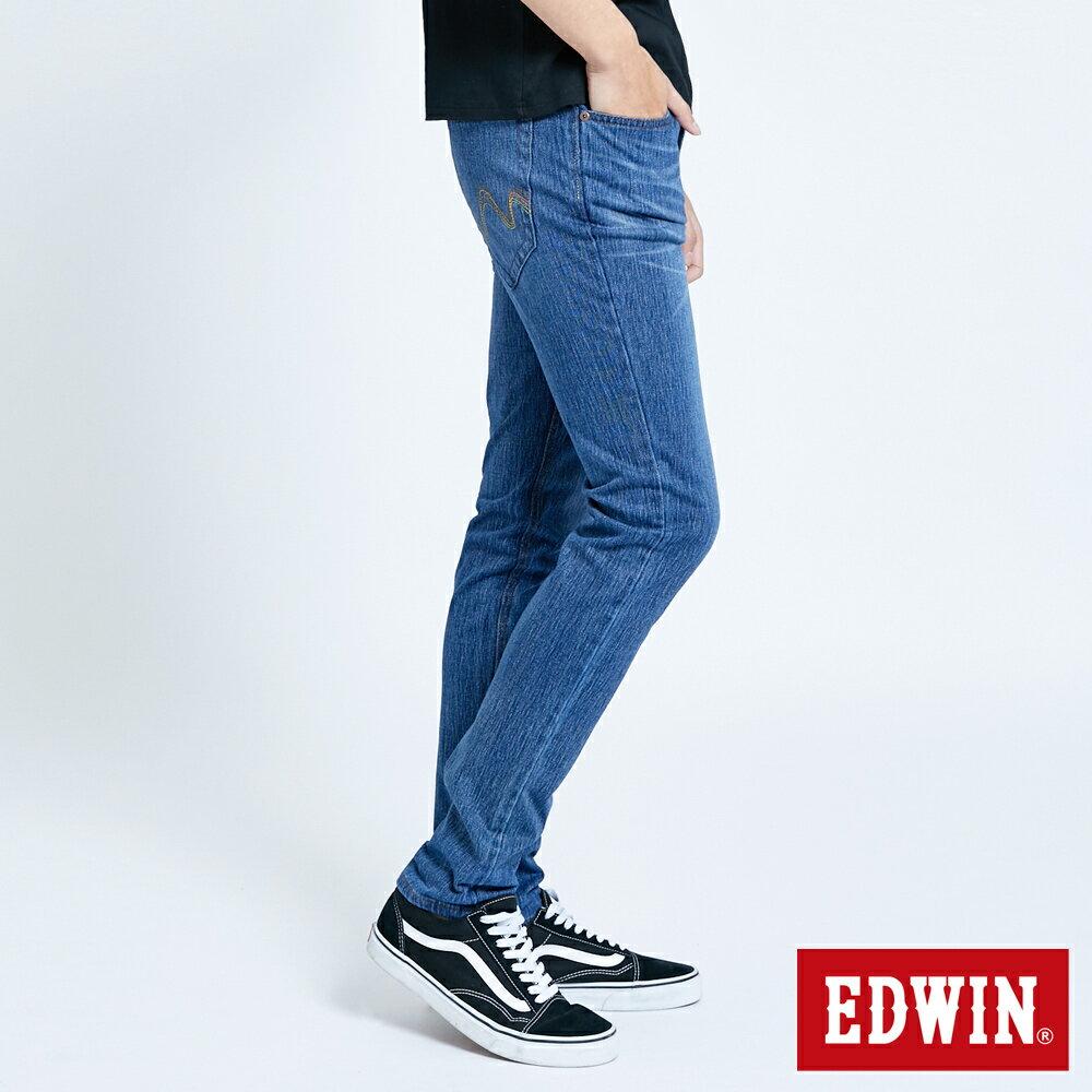 EDWIN JERSEYS 迦績 復古棉 窄直筒牛仔褲-男款 拔洗藍 樂天獨家 SLIM 3