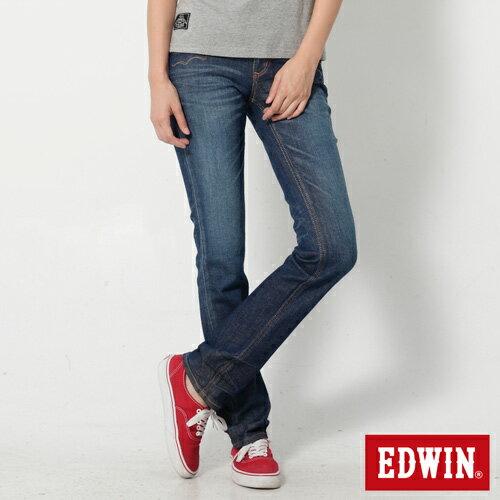 【990元優惠↘】EDWIN Miss 503 EDEG LINE 袋蓋窄直筒牛仔褲-女款 拔洗藍 0