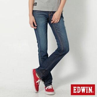 【990元優惠↘】 EDWIN Miss 503 EDGE LINE 袋蓋窄直筒牛仔褲-女款 拔洗藍【單筆滿700 | 結帳輸入序號loveyou-beauty再折100↘數量有限↘限用一次】
